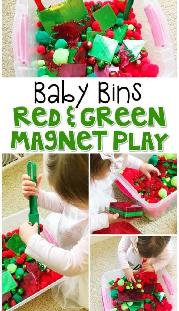 This red and green magnet sensory bin is great for a Christmas theme and is completely baby safe. These Baby Bin plans are perfect for learning with little ones between 12-24 months old.