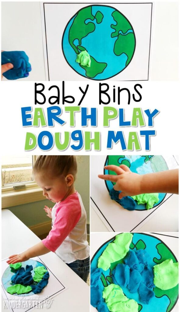 This earth play dough mat is a fun way to pretend, build and explore with an Earth Day theme while working on fine motor skills. These Baby Bin plans are perfect for learning with little ones between 12-24 months old.