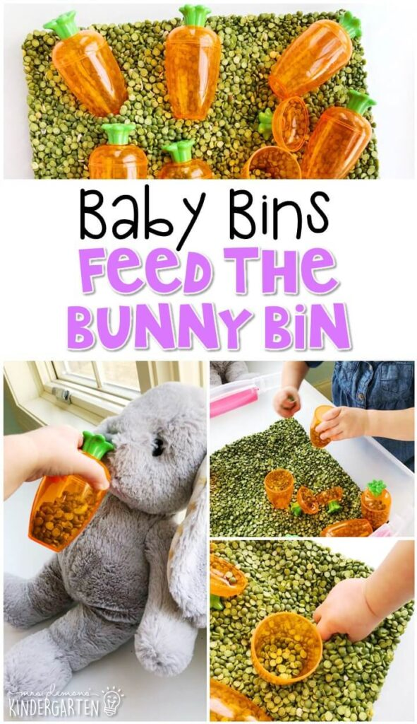 This feed the bunny sensory bin is great for an Easter theme and is completely baby safe. These Baby Bin plans are perfect for learning with little ones between 12-24 months old.