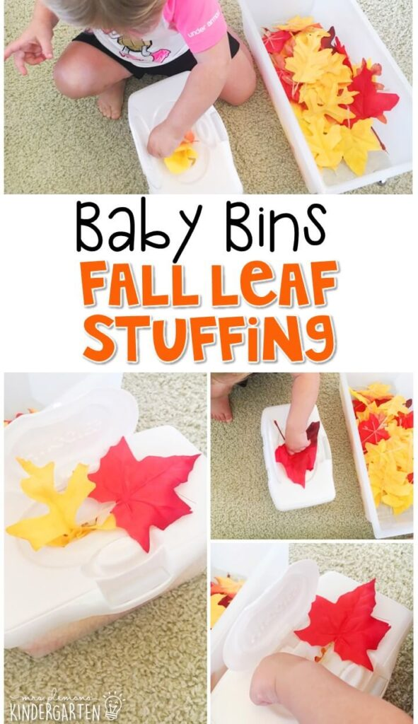 This leaf stuffing activity is great for a fall theme and is completely baby safe way to build fine motor skills. These Baby Bin plans are perfect for learning with little ones between 12-24 months old.