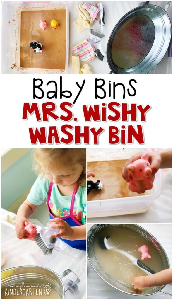 This Mrs. Wishy Washy sensory bin is an all time favorite. My girls LOVE getting the animals all dirty then washing them again and again. These Baby Bin plans are perfect for learning with little ones between 12-24 months old.