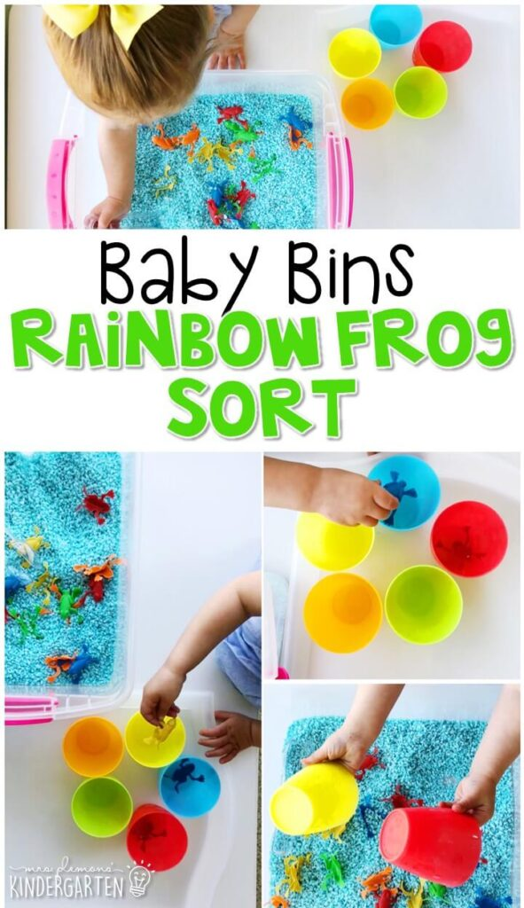 This rainbow frog sort sensory bin is great for practicing colors and sorting with a frog theme and is completely baby safe. These Baby Bin plans are perfect for learning with little ones between 12-24 months old.