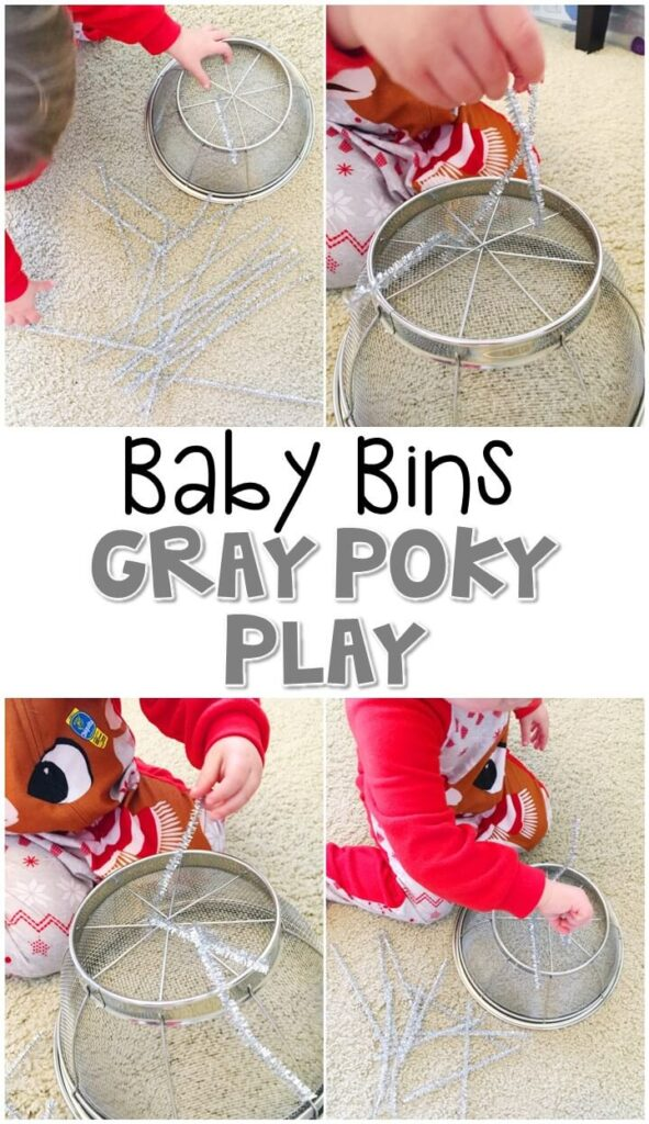 This gray poky play activity is great for building fine motor skills and is completely baby safe. These Baby Bin plans are perfect for learning with little ones between 12-24 months old.