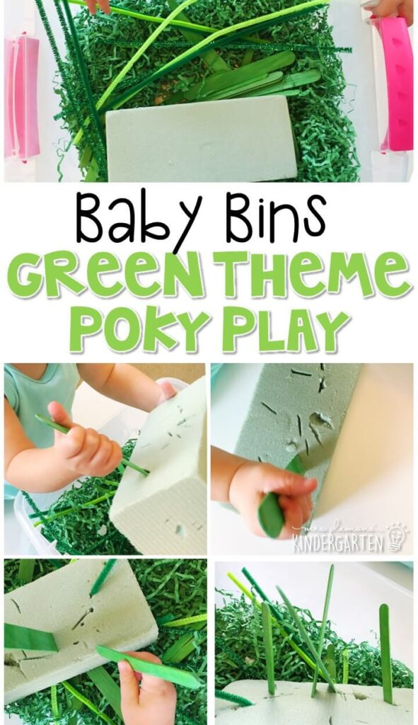 This green poky play sensory bin is great for learning the color green, building fine motor strength, and is completely baby safe. These Baby Bin plans are perfect for learning with little ones between 12-24 months old.