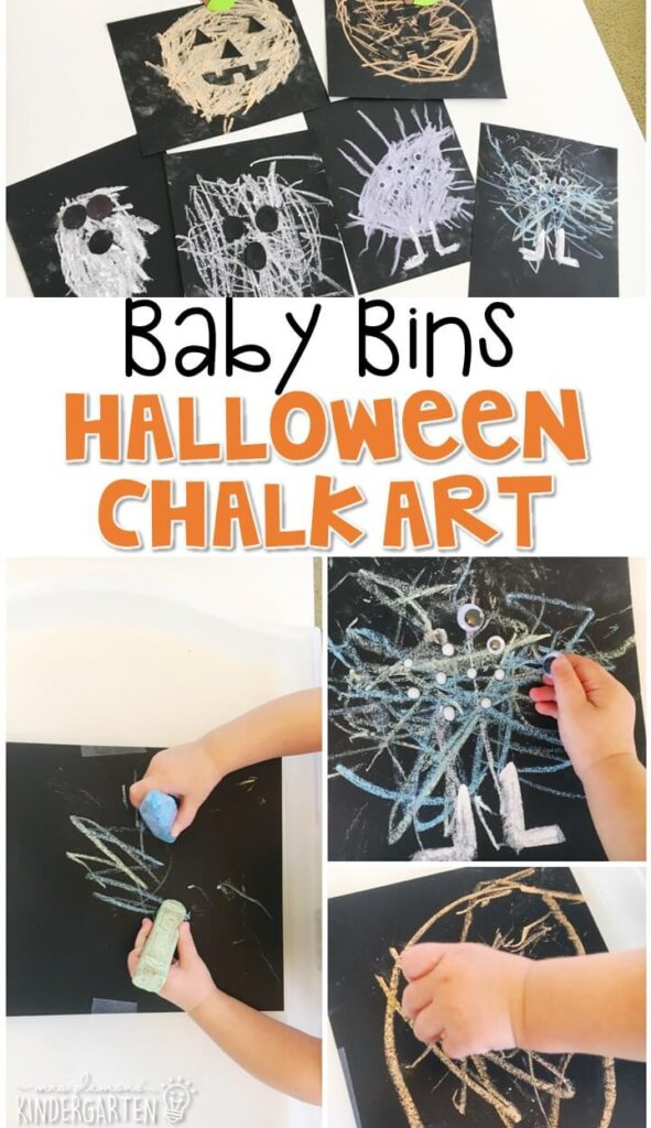 This Halloween chalk art activity is great for fine motor practice and always turns out adorable. Baby Bins are perfect for learning with little ones between 12-24 months old.