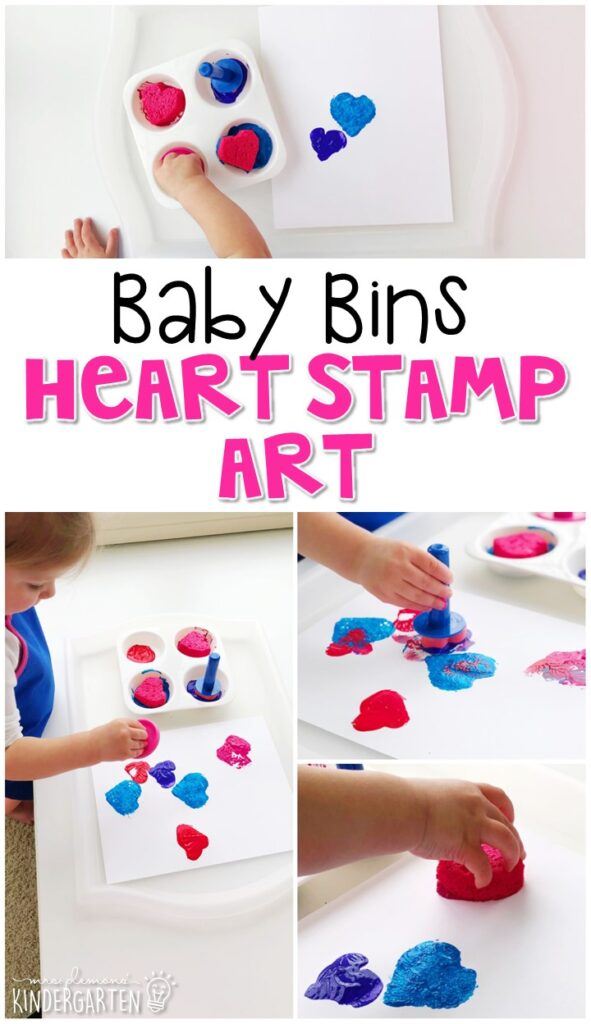 This heart stamp art activity is great for building fine motor skills and is completely baby safe. Baby Bins are perfect for learning with little ones between 12-24 months old.