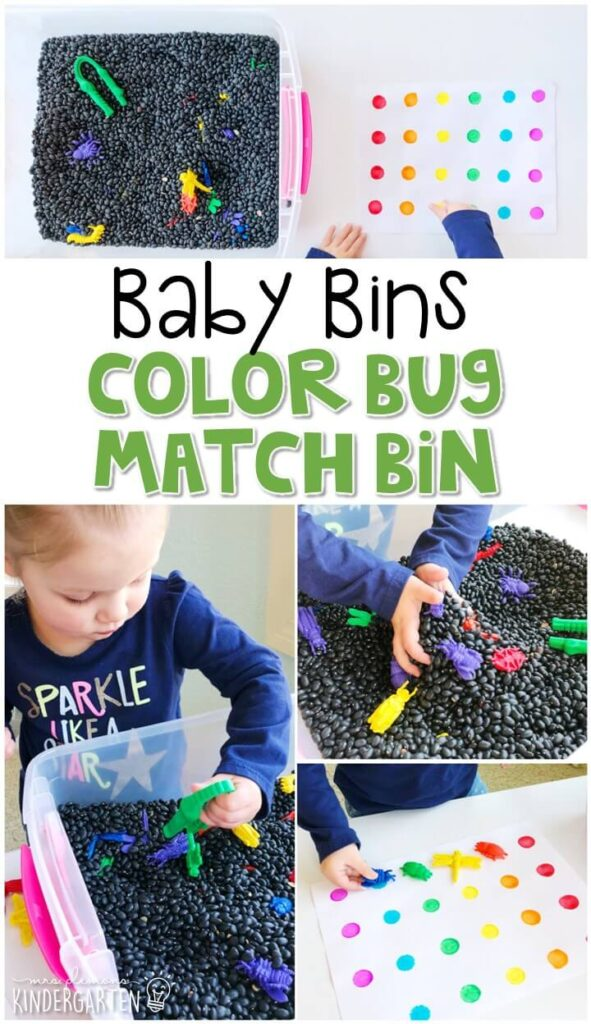 This color bug match sensory bin is great for fine motor practice and exploration with an insect theme. It incorporates color names and matching in a simple way and is completely baby safe. These Baby Bin plans are perfect for learning with little ones between 12-24 months old.
