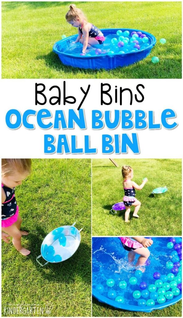 This ocean bubble ball sensory bin is great for exploring colors and sorting with an ocean theme and is completely baby safe. These Baby Bin plans are perfect for learning with little ones between 12-24 months old.
