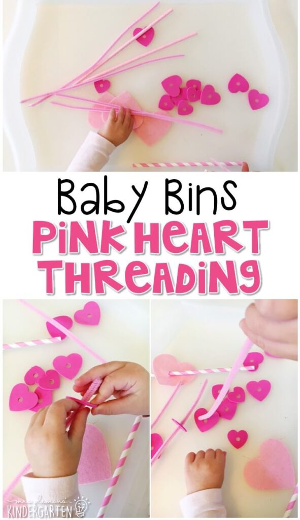 This pink heart threading activity is great for building fine motor skills and is completely baby safe. These Baby Bin plans are perfect for learning with little ones between 12-24 months old.
