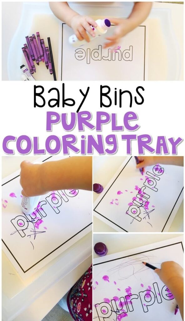 This purple coloring tray is great for a purple theme and is completely baby safe. These Baby Bin plans are perfect for learning with little ones between 12-24 months old.
