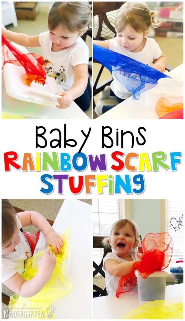 This rainbow scarf sensory activity is great for learning colors and is completely baby safe. These Baby Bin plans are perfect for learning with little ones between 12-24 months old.