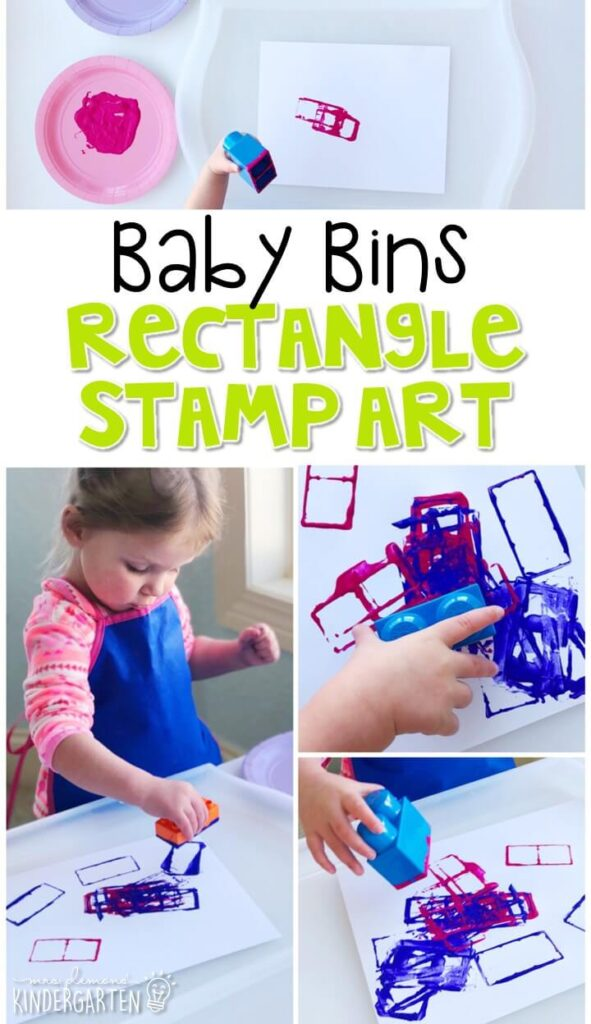 This rectangle stamp art activity is great for building fine motor skills and is completely baby safe. Baby Bins are perfect for learning with little ones between 12-24 months old.
