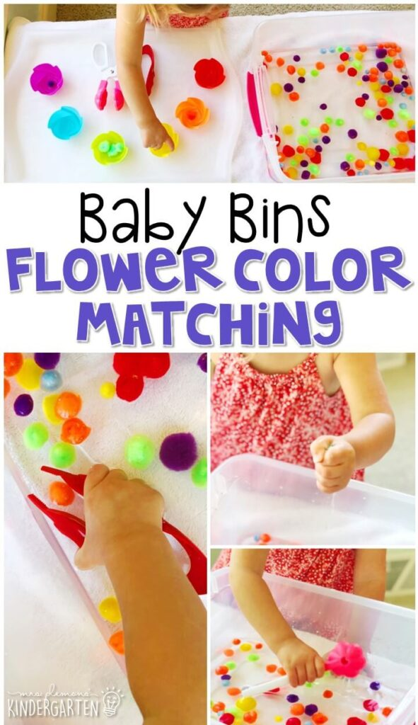 This flower color matching sensory bin is great for exploring colors and sorting with a spring theme and is completely baby safe. These Baby Bin plans are perfect for learning with little ones between 12-24 months old.