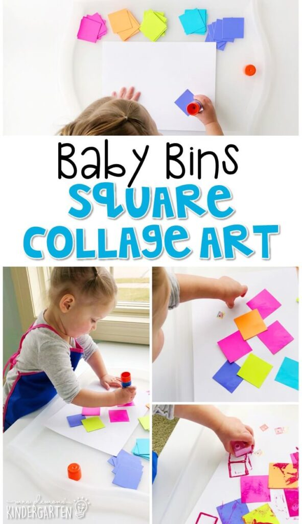 This square collage art activity is great for building fine motor skills and is completely baby safe. Baby Bins are perfect for learning with little ones between 12-24 months old.