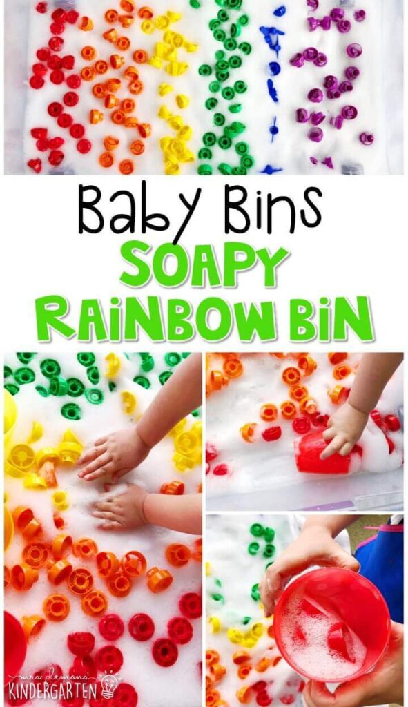 This soapy rainbow sensory bin is fun to explore for a St. Patrick's Day theme and is completely baby safe. These Baby Bin plans are perfect for learning with little ones between 12-24 months old.