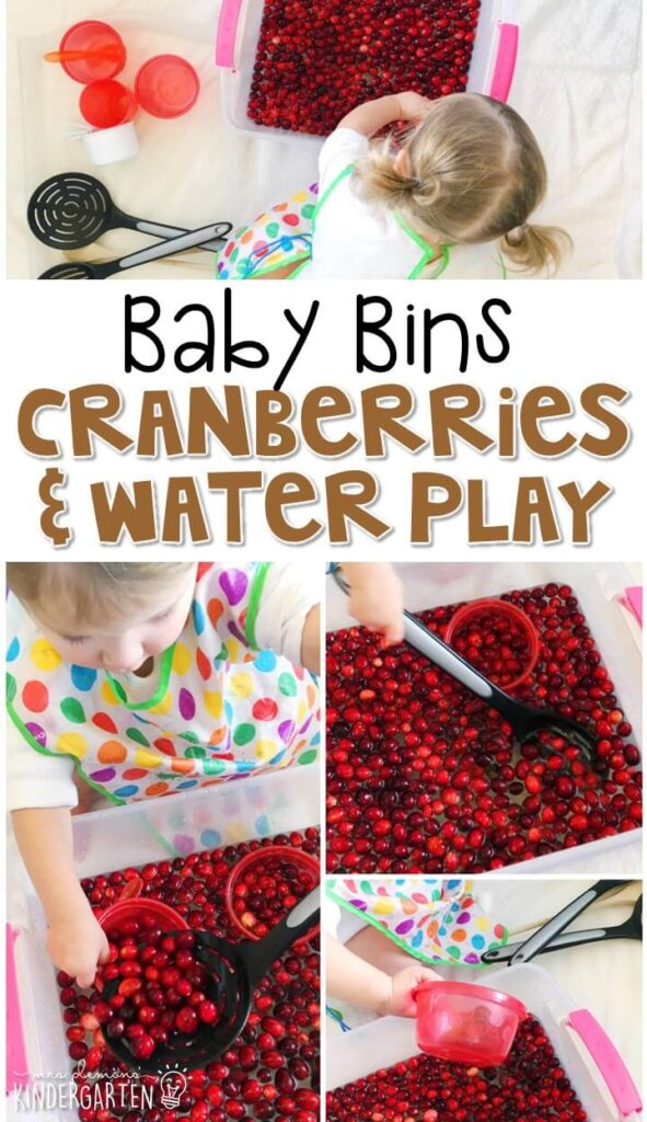We LOVE this cranberry water play sensory bin. Water play sensory bins are super engaging for little ones. These Baby Bin plans are perfect for learning with little ones between 12-24 months old.