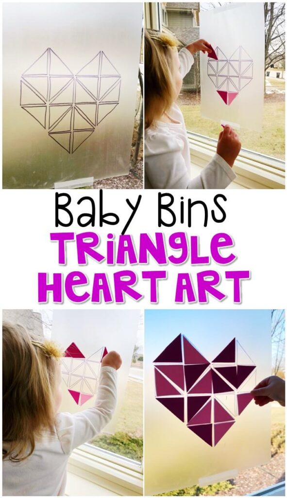 This triangle sticky art activity is great for building fine motor skills and is completely baby safe. Baby Bins are perfect for learning with little ones between 12-24 months old.