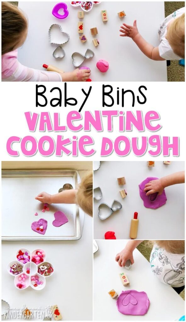 This Valentines cookie play dough activity was a fun way to pretend and play in a completely baby safe way. These Baby Bin plans are perfect for learning with little ones between 12-24 months old.