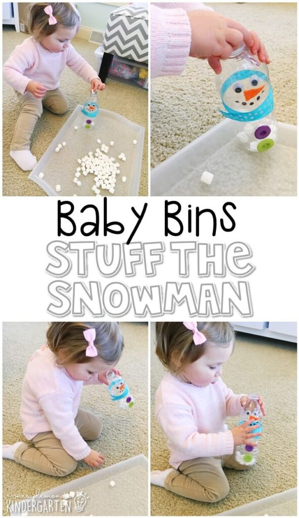 This stuff the snowman activity is great for building fine motor skills and is completely baby safe. These Baby Bin plans are perfect for learning with little ones between 12-24 months old.