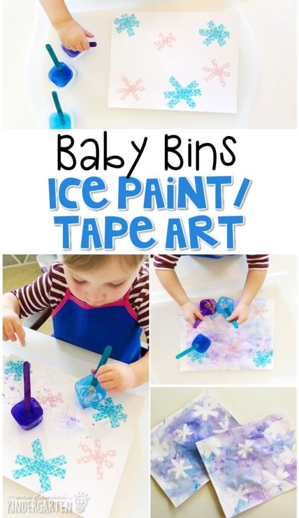 This ice paint and tape resist winter activity is great for fine motor practice and always turns out adorable. Baby Bins are perfect for learning with little ones between 12-24 months old