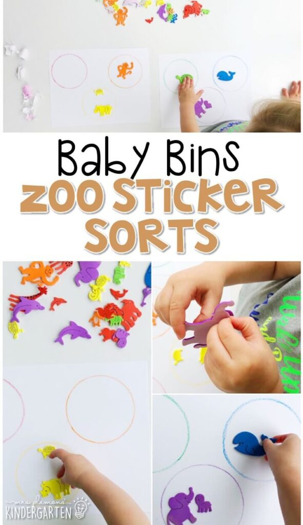 This zoo sticker sort activity is such a simple way to work on colors and sorting and also get in some great fine motor practice. Baby Bins are perfect for learning with little ones between 12-24 months old.