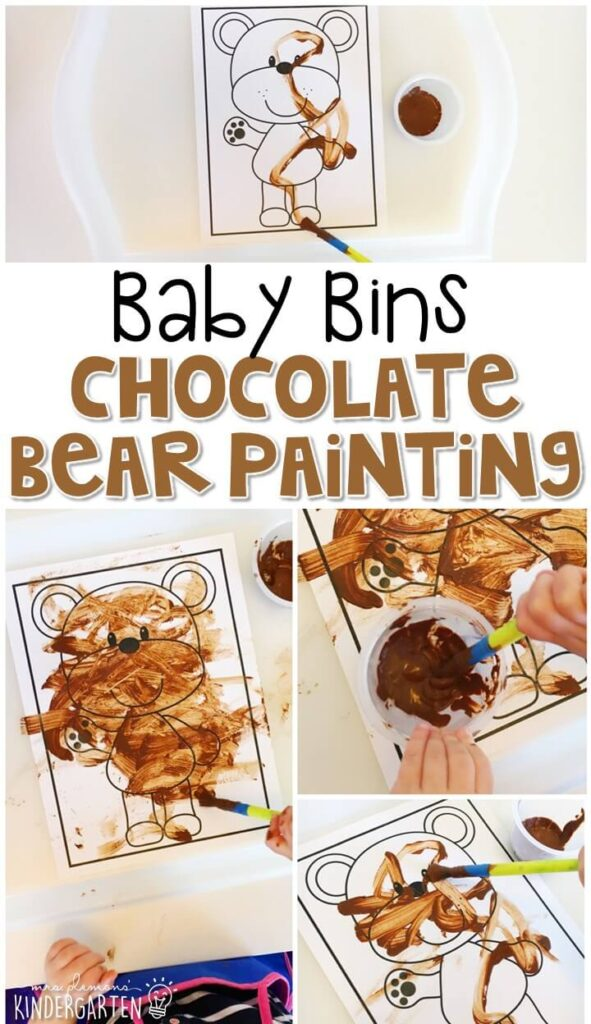 This chocolate bear painting activity is great for building fine motor skills and is a completely baby safe way to paint with little ones. Baby Bins are perfect for learning with little ones between 12-24 months old.