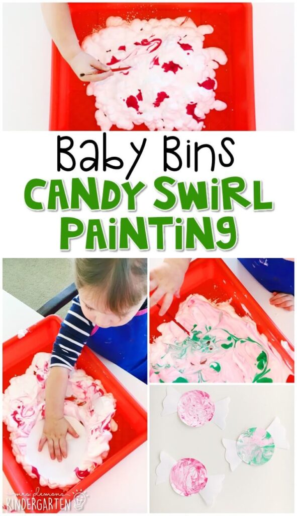 This Christmas candy cane swirl activity is great for fine motor practice and always turns out adorable. Baby Bins are perfect for learning with little ones between 12-24 months old.