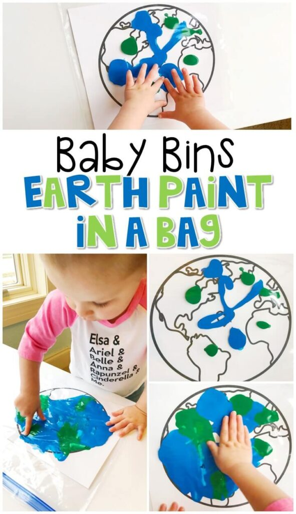 This Earth paint in a bag activity is great for fine motor practice and a fun mess free way to paint. Baby Bins are perfect for learning with little ones between 12-24 months old.