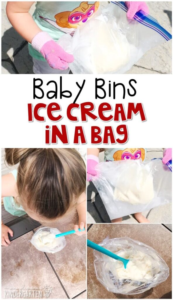 This ice cream in a bag activity is a fun way to explore science with little ones. These Baby Bin plans are perfect for learning with little ones between 12-24 months old.
