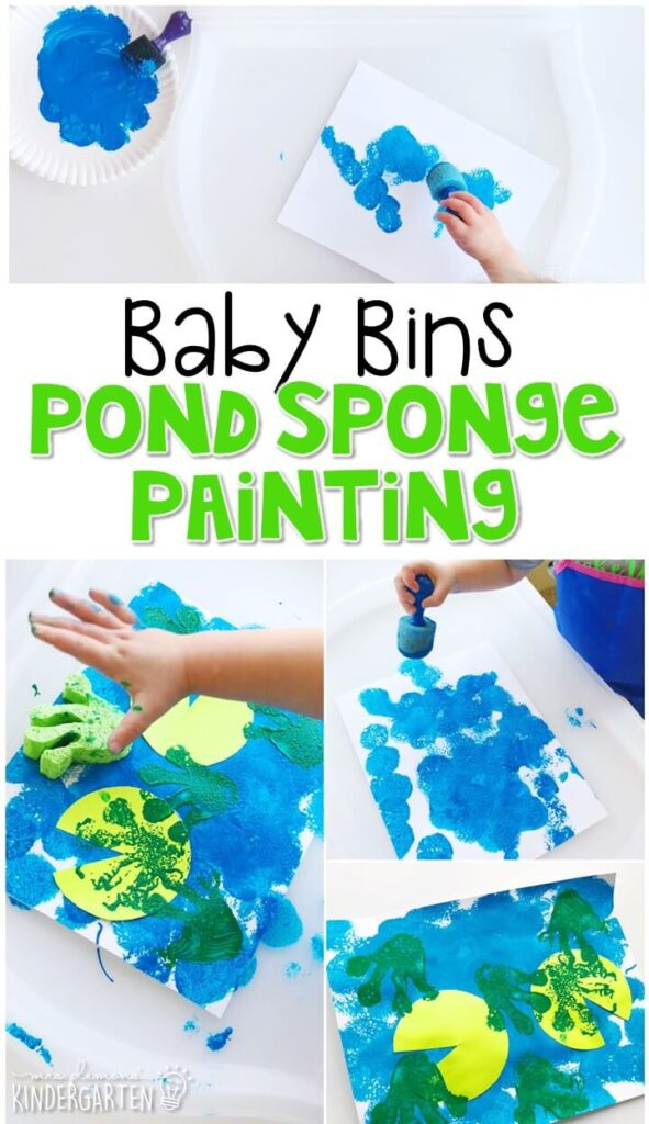 This pond sponge painting activity is great for fine motor practice and always turns out adorable. Baby Bins are perfect for learning with little ones between 12-24 months old.