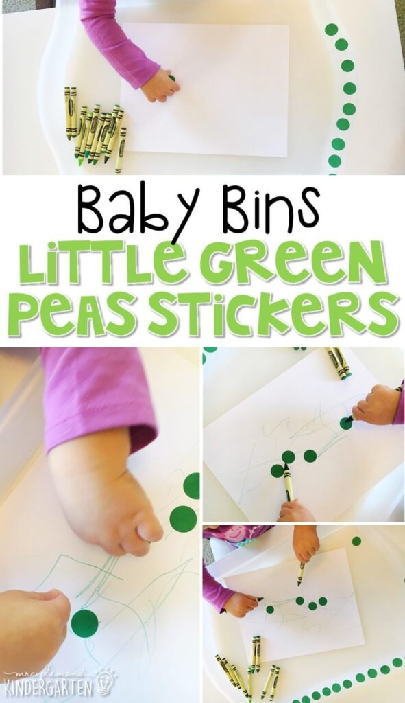 This little green peas sticker activity is great for learning the color green and is a completely baby safe way to build fine motor skills. Baby Bins are perfect for learning with little ones between 12-24 months old.