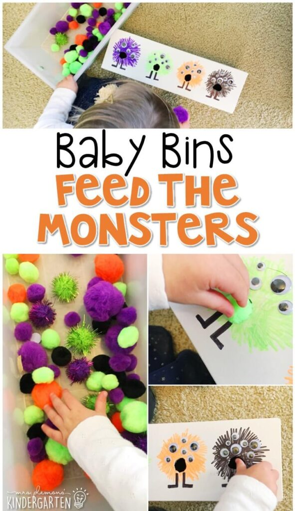 This feed the monster activity is great for a Halloween theme and is a completely baby safe way to build fine motor skills as well as begin to sort by colors. These Baby Bin plans are perfect for learning with little ones between 12-24 months old.