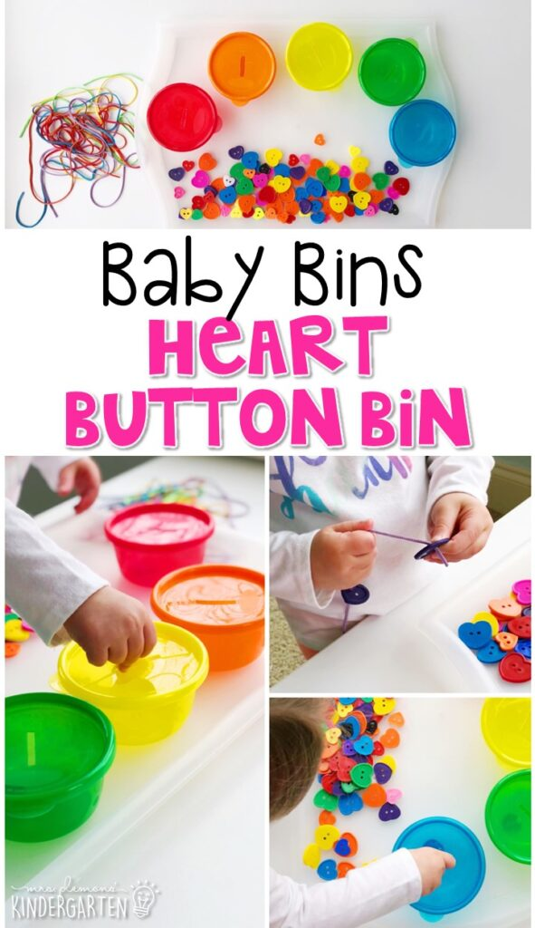 This heart button bin is great for building fine motor skills and is completely baby safe. These Baby Bin plans are perfect for learning with little ones between 12-24 months old.