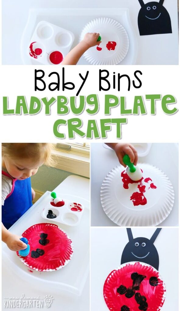 This ladybug plate craft activity is great for fine motor practice and always turns out adorable. Baby Bins are perfect for learning with little ones between 12-24 months old.