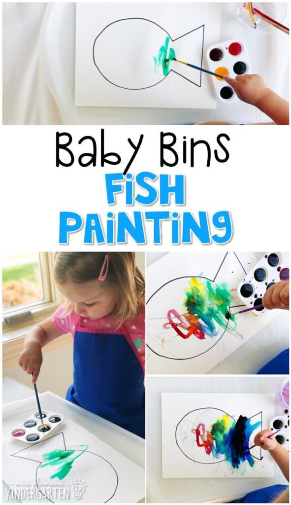 This fish watercolor painting activity is great for fine motor practice and always turns out adorable. Baby Bins are perfect for learning with little ones between 12-24 months old.