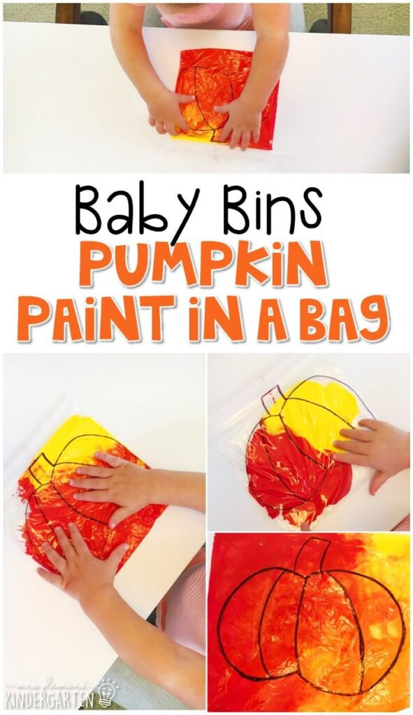 This pumpkin paint in a bag is great for learning the color orange and is a completely baby safe way to paint with any paint you have on hand. Baby Bins are perfect for learning with little ones between 12-24 months old.