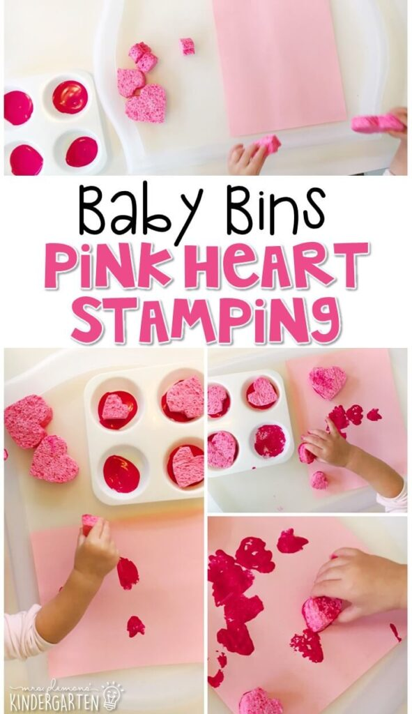 This pink heart stamping activity is great for building fine motor skills and is a completely baby safe way to paint with little ones. Baby Bins are perfect for learning with little ones between 12-24 months old.