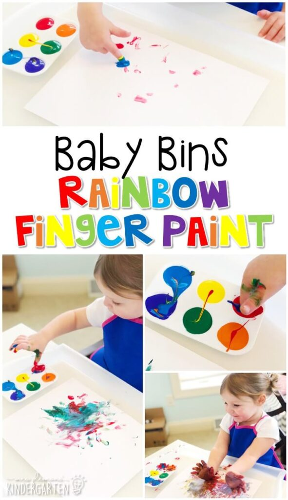 This rainbow finger paint activity is great for building fine motor skills and is a completely baby safe way to paint with little ones. Baby Bins are perfect for learning with little ones between 12-24 months old.