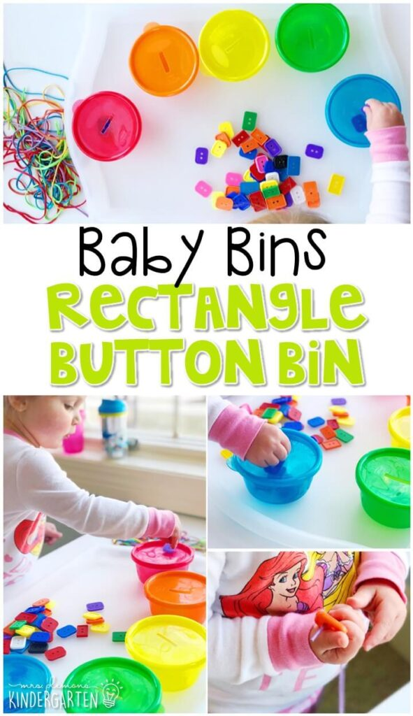 This rectangle button bin is great for building fine motor skills and is completely baby safe. These Baby Bin plans are perfect for learning with little ones between 12-24 months old.