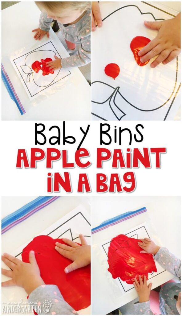 This apple paint in a bag is great for learning the color red and is a completely baby safe way to paint with any paint you have on hand. Baby Bins are perfect for learning with little ones between 12-24 months old.