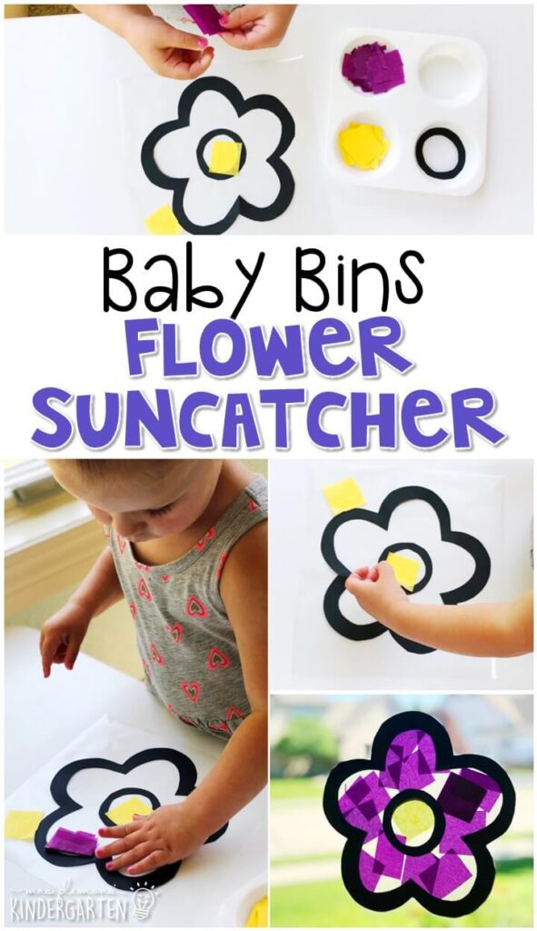 This flower suncatcher activity is great for fine motor practice and always turns out adorable. Baby Bins are perfect for learning with little ones between 12-24 months old.