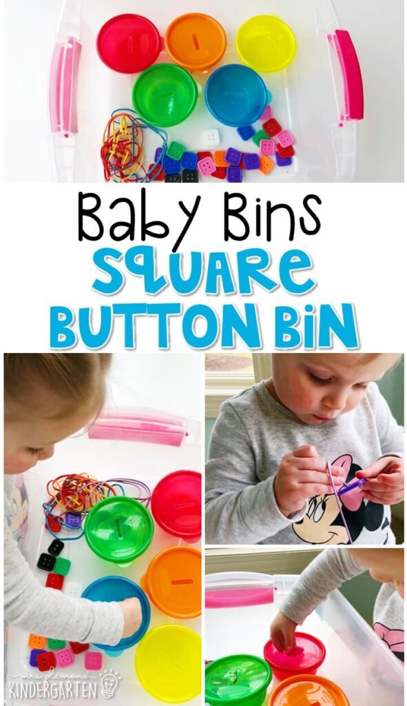 This square button bin is great for building fine motor skills and is completely baby safe. These Baby Bin plans are perfect for learning with little ones between 12-24 months old.