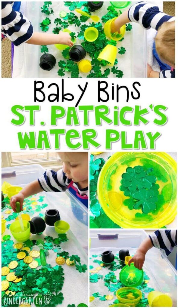 This St. Patrick's Day water play sensory bin is fun to explore for a St. Patrick's Day theme and is completely baby safe. These Baby Bin plans are perfect for learning with little ones between 12-24 months old.