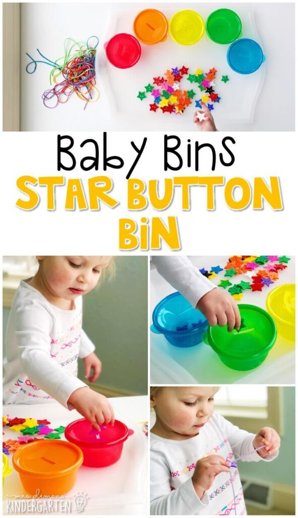 This star button bin is great for building fine motor skills and is completely baby safe. These Baby Bin plans are perfect for learning with little ones between 12-24 months old.