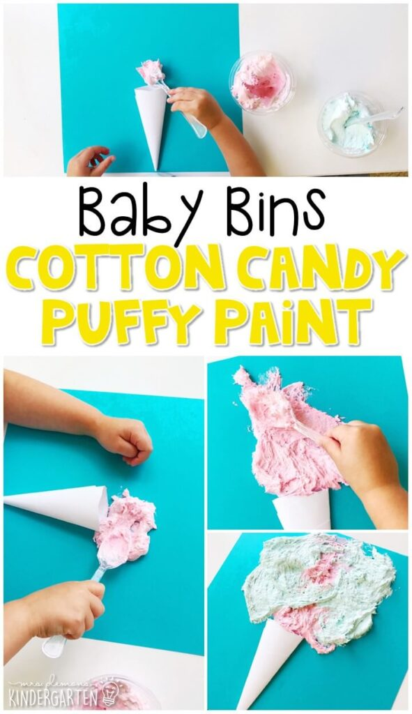 This cotton candy puffy paint activity is great for fine motor practice and always turns out adorable. Baby Bins are perfect for learning with little ones between 12-24 months old.