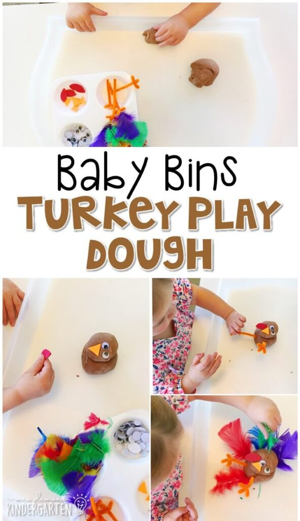 This turkey play dough tray is perfect for fine motor/sensory fun with at Thanksgiving theme. These Baby Bin plans are perfect for learning with little ones between 12-24 months old.