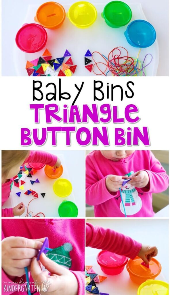 This triangle button bin is great for building fine motor skills and is completely baby safe. These Baby Bin plans are perfect for learning with little ones between 12-24 months old.