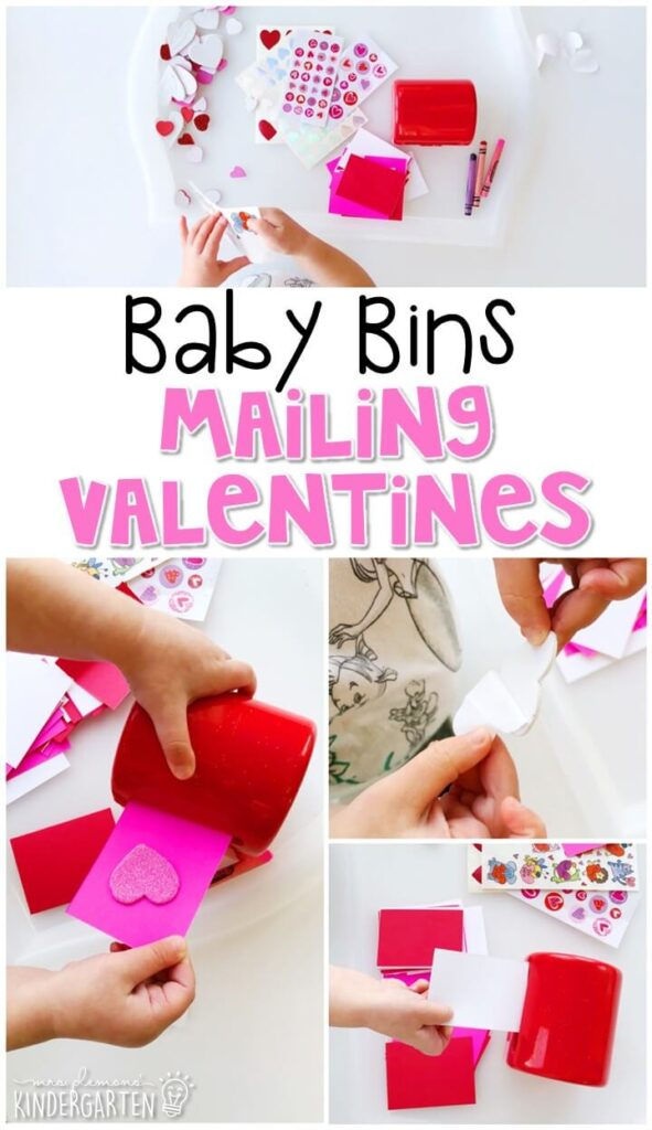 This mailing Valentines activity was a fun way to pretend and play in a completely baby safe way. These Baby Bin plans are perfect for learning with little ones between 12-24 months old.