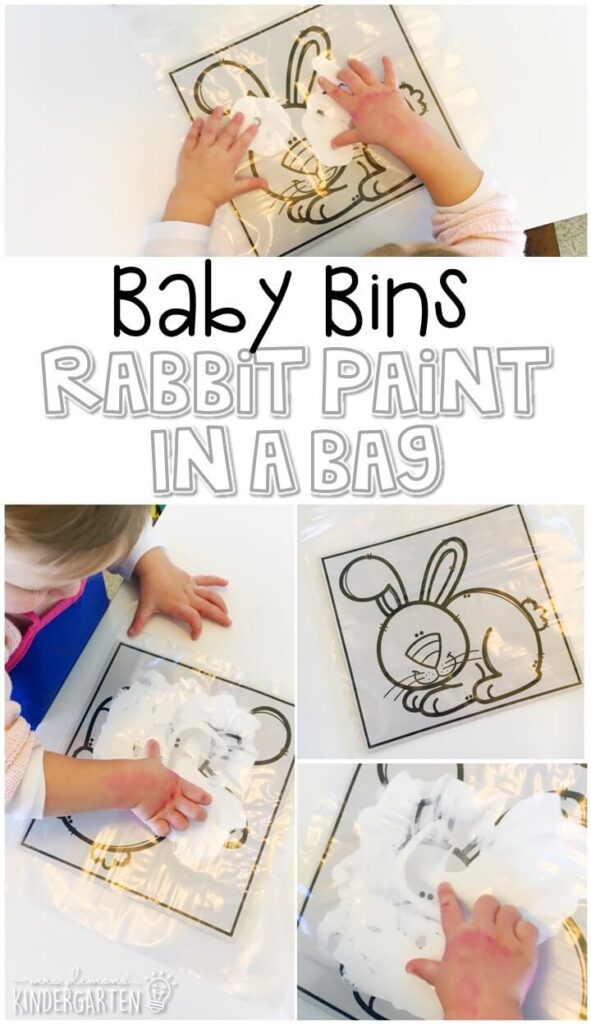 This rabbit paint in a bag activity is great for building fine motor skills and is a completely baby safe way to paint with little ones. Baby Bins are perfect for learning with little ones between 12-24 months old.