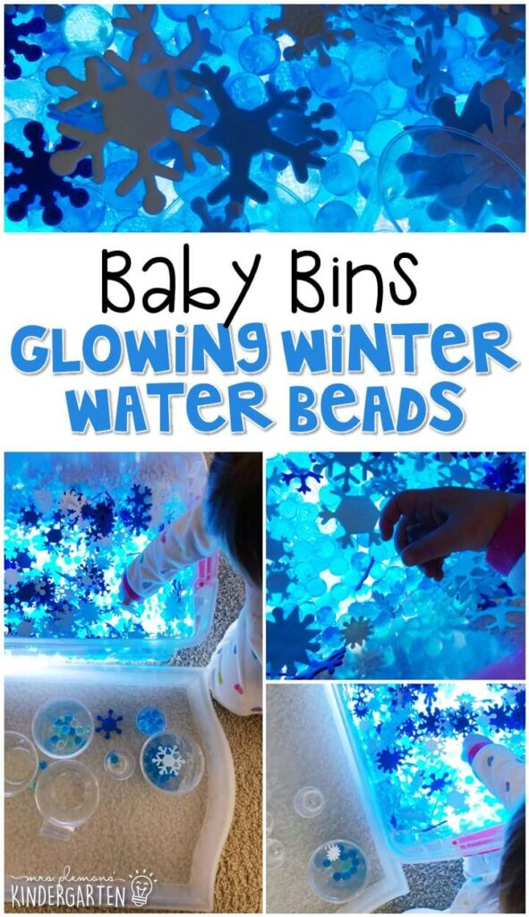 This glowing winter water beads sensory bin is great for a winter theme and is a great way to introduce water beads to little ones. If they try to put them in their mouth put them in a ziploc. These Baby Bin plans are perfect for learning with little ones between 12-24 months old.
